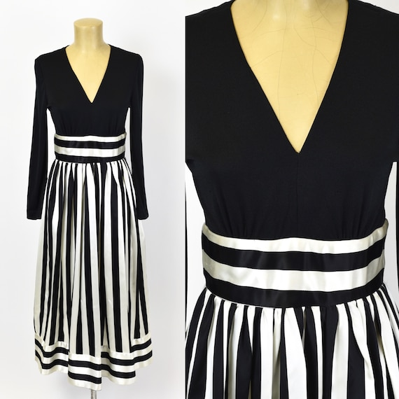 1970's Victor Costa Striped Dress