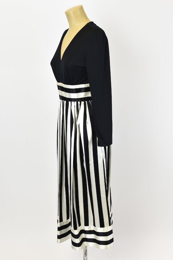 1970s Victor Costa Striped Dress Gown - image 4