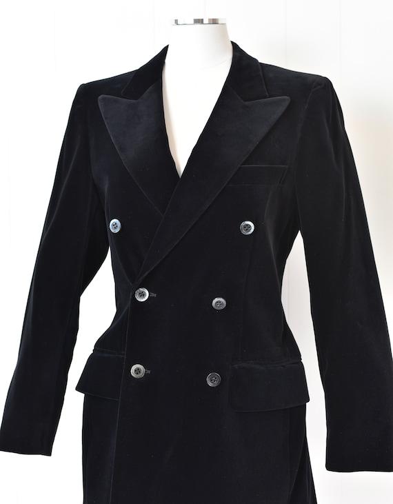 1970s Yves Saint Laurent Black Velvet Jacket - image 2