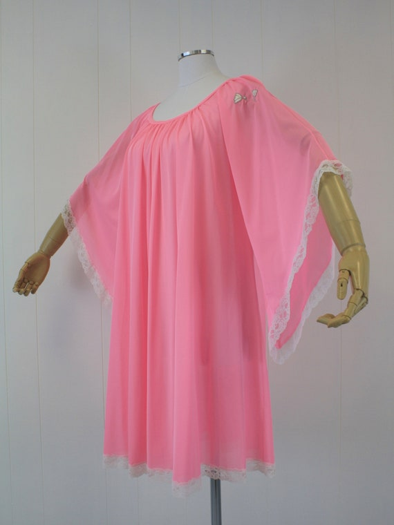 1970s Lucie Ann Pink Angel Wing Sleeve Nightgown … - image 4