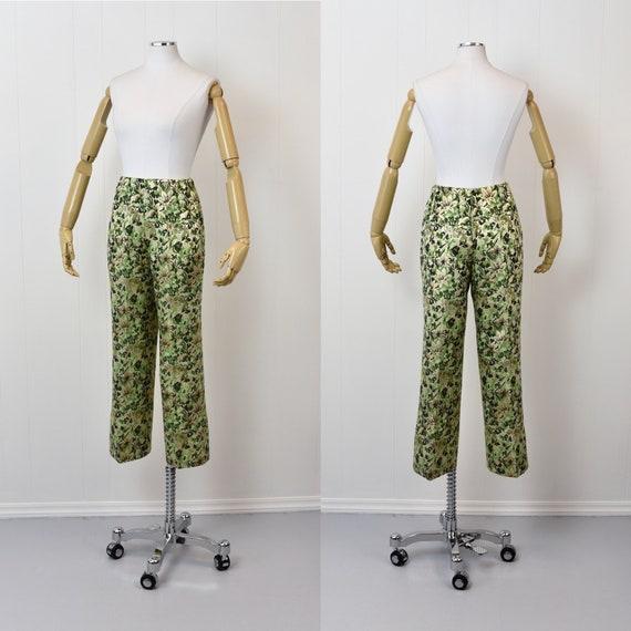 1960s Ceil Chapman Green Floral Metallic Two Piec… - image 8