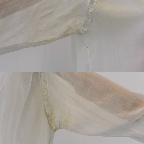 Antique 1900s White Voile Floral Embroidered Blou… - image 10