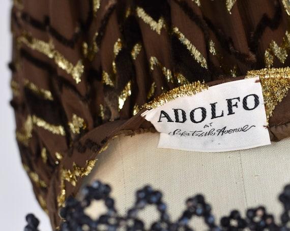 1970s Adolfo Chevron Metallic Skirt - image 6