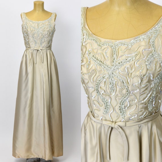 1960's Champagne Ribbon Embroidered Gown