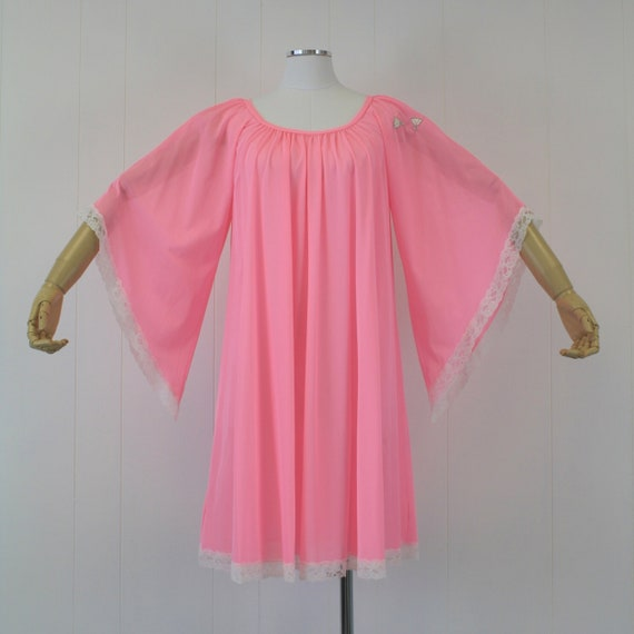 1970s Lucie Ann Pink Angel Wing Sleeve Nightgown … - image 2