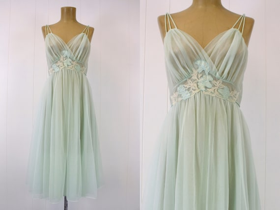 1950s Light Green Floral Nylon Nightgown Lingerie