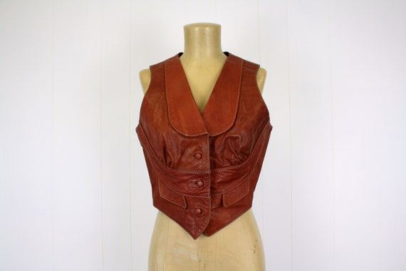 1970s Brown Leather Vest