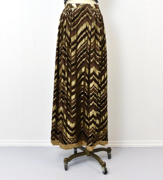 1970s Adolfo Chevron Metallic Skirt - image 2