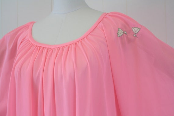 1970s Lucie Ann Pink Angel Wing Sleeve Nightgown … - image 8