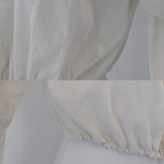 Antique 1900s White Voile Floral Embroidered Blou… - image 8
