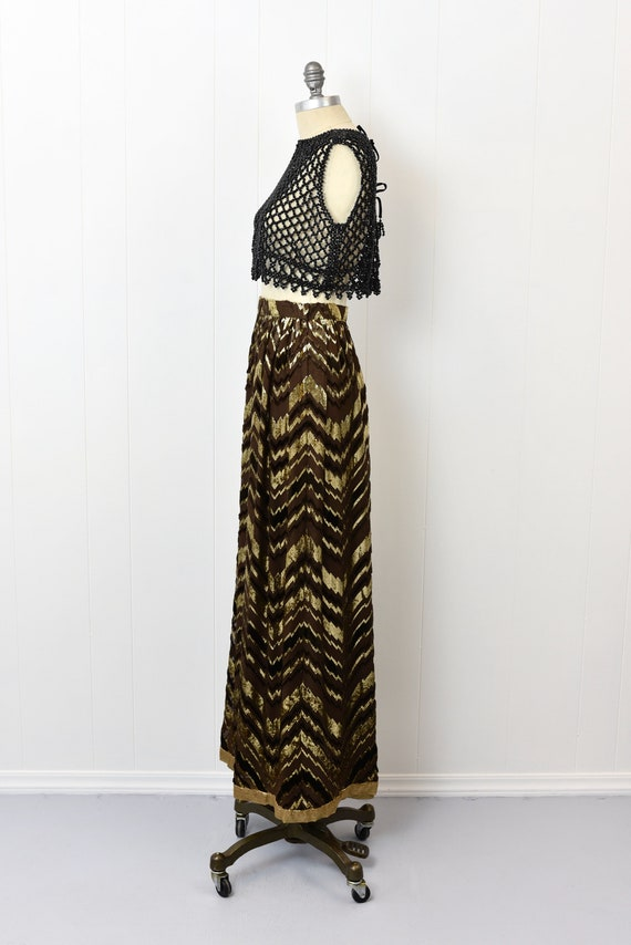 1970s Adolfo Chevron Metallic Skirt - image 3