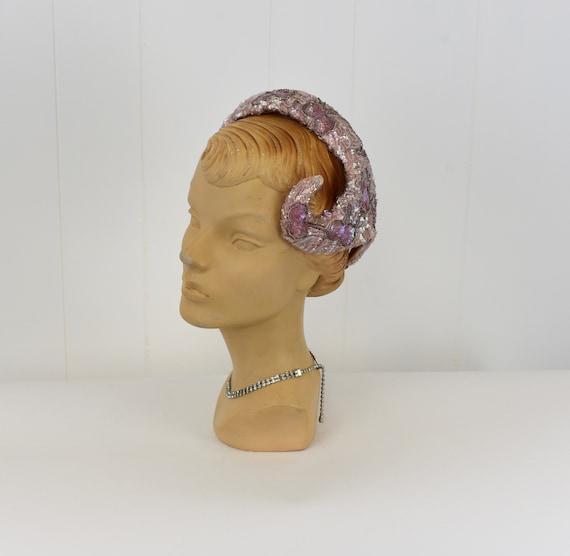 1950s Pink Sequin & Bead Skull Cap Hat - image 1