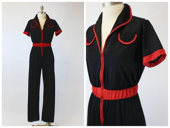 1970s Black & Red Nylon Lingerie Jumpsuit