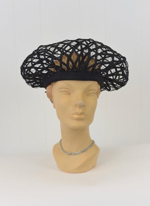 1960s Christian Dior Black Net Hat - image 3