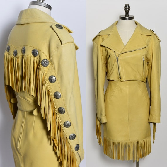 RARE 1980's North Beach Leather Fringed Jacket & S
