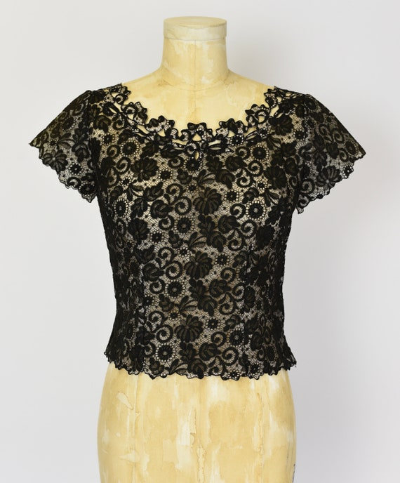 1950's Black Lace Blouse