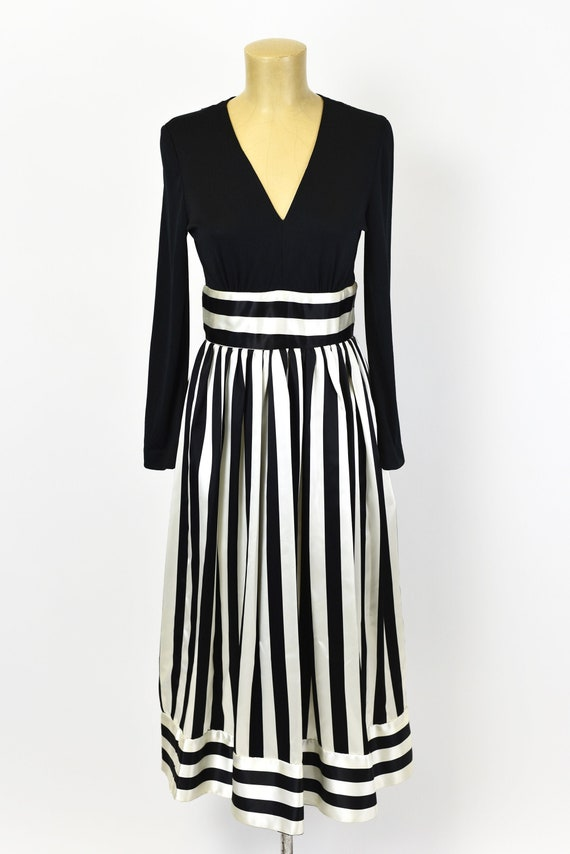 1970s Victor Costa Striped Dress Gown - image 2