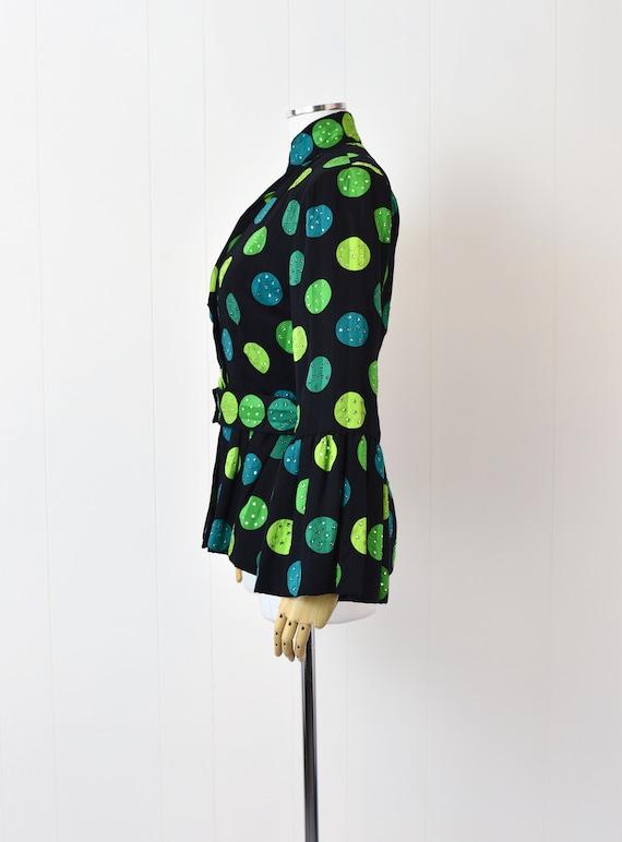 1980s Pauline Trigere Polka Dot Rhinestoned Jacket - image 6