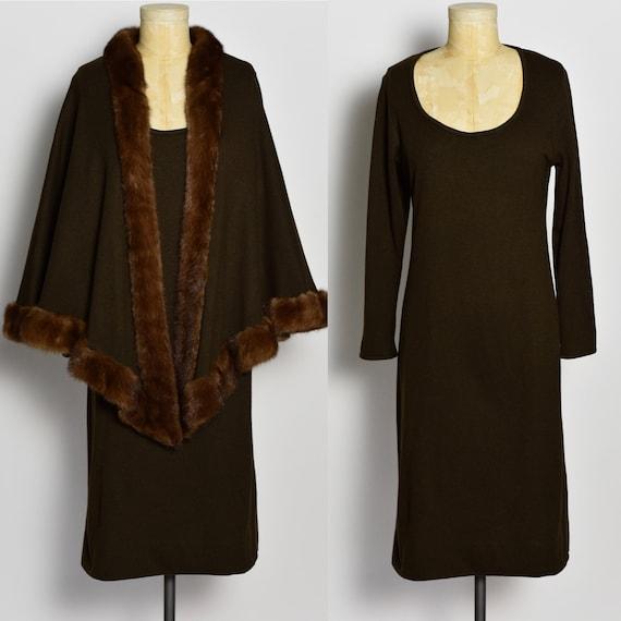 1970's Dark Brown Halston Dress & Mink Trimmed Cap