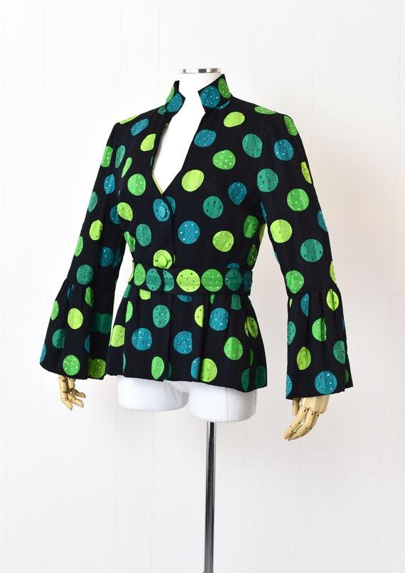 1980s Pauline Trigere Polka Dot Rhinestoned Jacket - image 2
