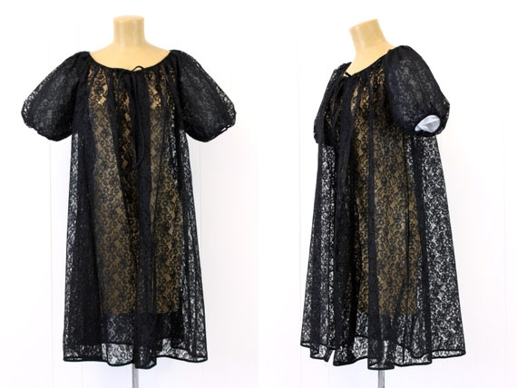 1950s Black Lace Puff Sleeve Robe Lingerie