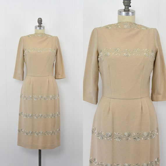1950's Beige Cocktail Dress