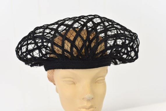 1960s Christian Dior Black Net Hat - image 2