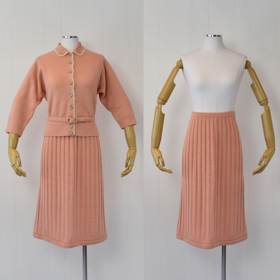 1940's Pink Sweater & Skirt Set