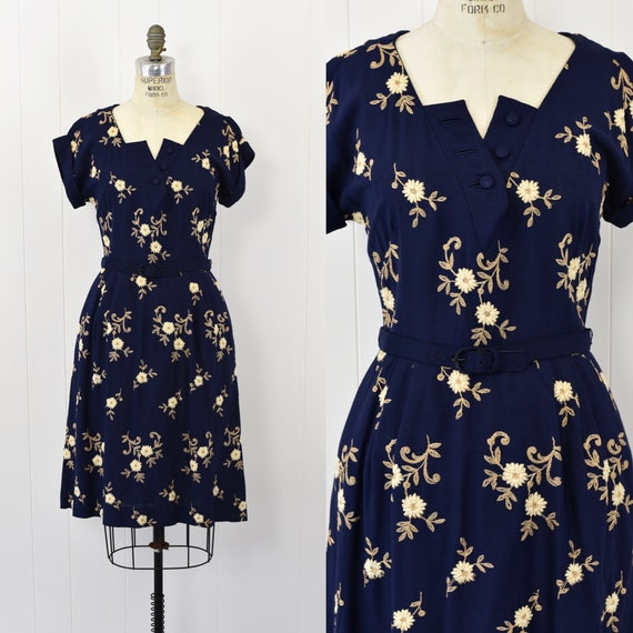 1940's Navy Floral Embroidered Dress