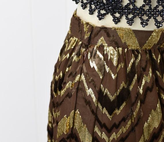 1970s Adolfo Chevron Metallic Skirt - image 8