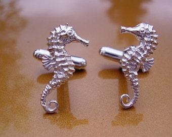 Sea Creature Cufflinks S0311 Beach Wedding Cufflink Pair Seahorse Cufflinks Lifetime Guarantee