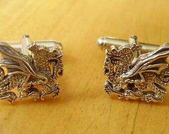 Contrastados Plata galés Dragón Cufflinks Gemelos de dragón galés de plata esterlina.
