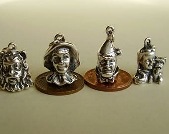 Wizard Of Oz Set Of Four Sterling Silver Charms