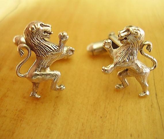 Rampant Lion Cufflinks Sterling Silver Scottish Disks
