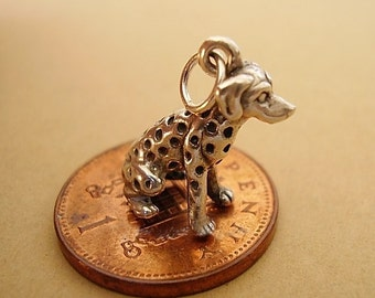 Sterling Silver Dalmation Dog Charm ( HJ )