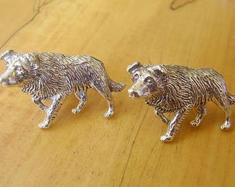 Large Border Collie Sheep Dog Sterling Silver Cufflinks