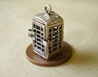 Sterling Silver Opening Telephone Box Charm