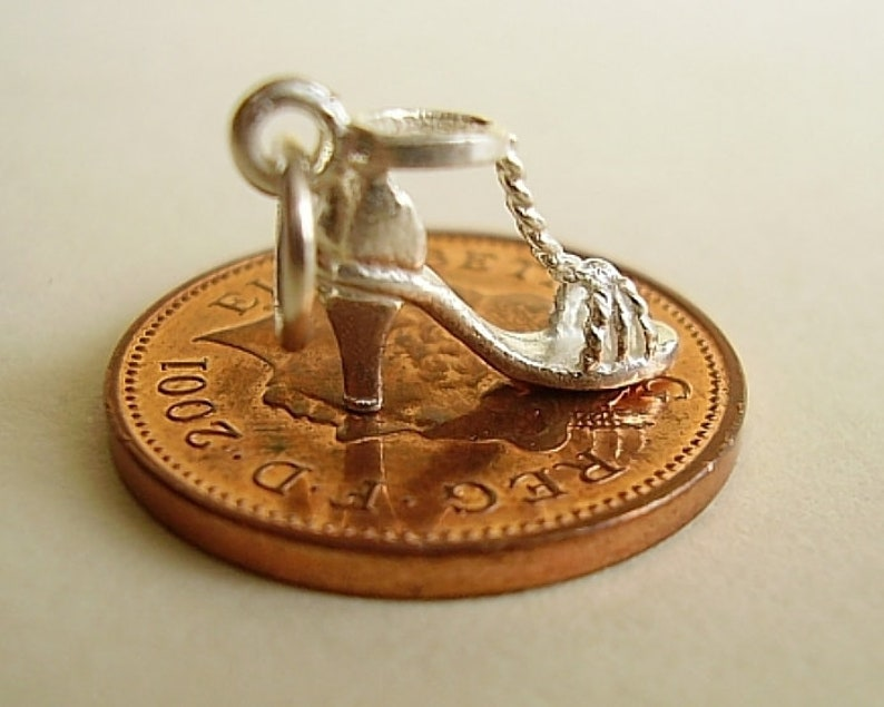 Sterling Silver High Heel Strappy Shoe Charm