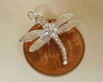 Sterling Silver Dragonfly Charm With Real Cubic Zirconia