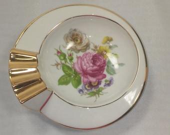 LIMOGES FRANCE - Vintage 90's Dresdon Flowers Porcelain Ashtray