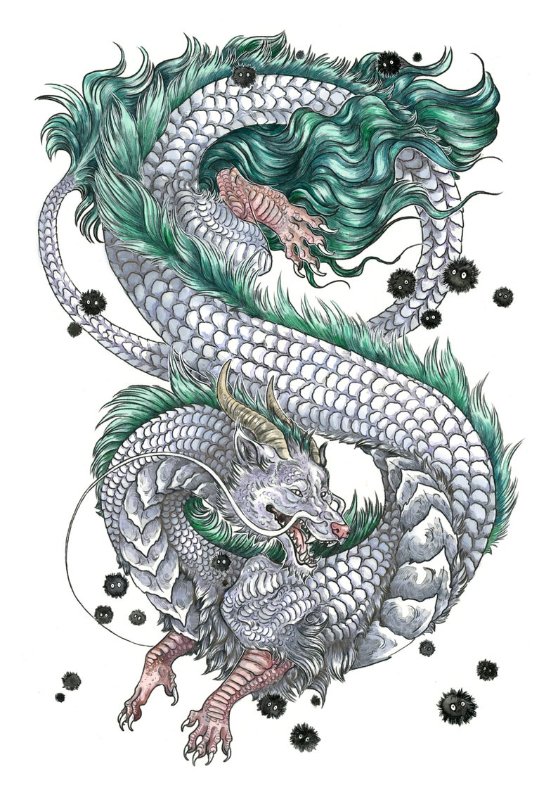 Haku Dragon Tattoo: Medium A4 Print Kohaku River Dragon Haku Spirit