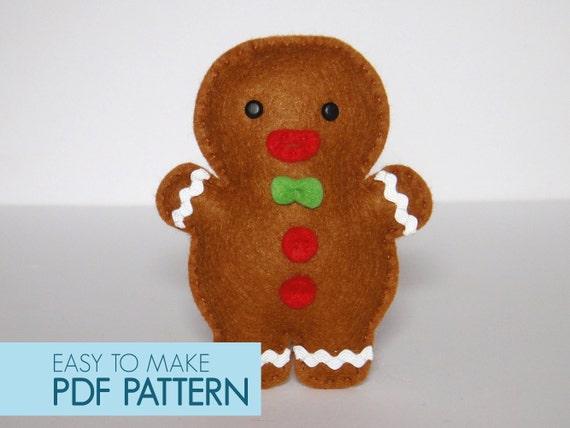 Gingerbread Christmas Tree.Pdf Pattern Gingerbread Christmas Xmas Tree Ornament Embellishment Felt Sew