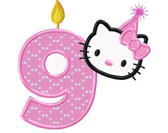 8157b3d18 Geburtstag Kitty... Sofort-Download... Maschinenstickerei DESIGN Nr. 778  Applikation