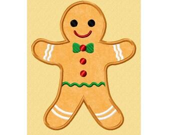Gingerbread man applique etsy