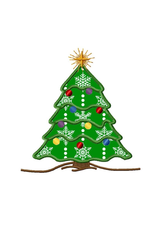 christmas tree 2 applique machine embroidery design no
