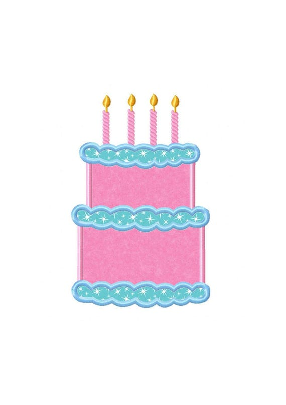 4th Birthday Cake Instant Download Applique Machine Etsy