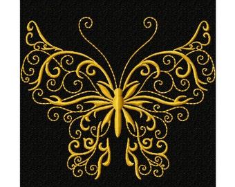 Golden Butterfly Design 1...Instant Download...Satin Stitch Machine Embroidery DESIGN NO. 179