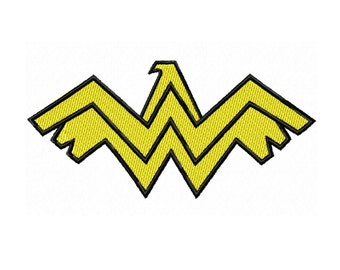 Wonder Woman Logo 4 sizes Fill Machine Embroidery DESIGN NO. 399