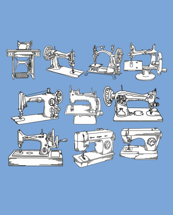 Set 10 Vintage Sewing Machines Redwork Machine Embroidery Etsy