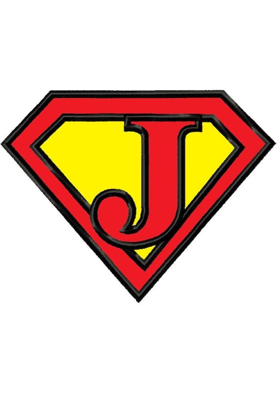 Superman Letter J Instant Download Applique Machine Etsy